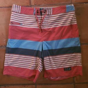 Patagonia Stretch Wavefarer Coral Stripe Shorts